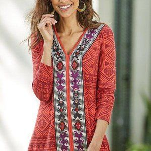 Soft Surroundings Kalahari Tunic Top Embroidered M